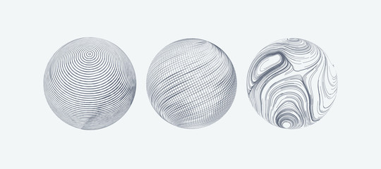 Set of spheres with engraved texture. Wall mural