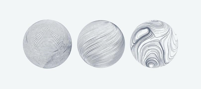 Set of spheres with engraved texture.