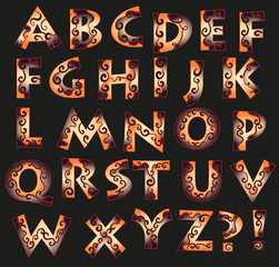 fantasy font with curly patterns in fire shades