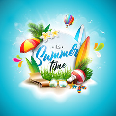 Vector Summer Time Holiday typographic illustration on vintage wood background. Tropical plants, flower, beach ball, surf board, air balloon and sunshade with blue cloudy sky. Design template for