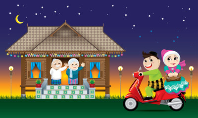 A couple is just arrive their home town, ready to celebrate Raya festival with their parents.