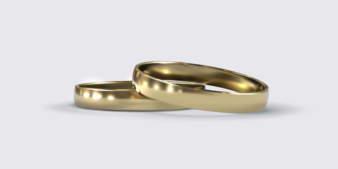 Golden wedding rings.
