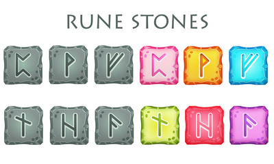 Set of Square Colorful and Grey Rune Stones