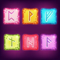 Set of Square Colorful Rune Stones