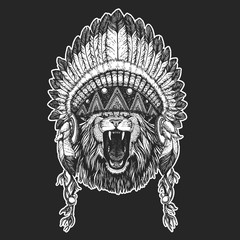 Wild animal Cool animal wearing native american indian headdress with feathers Boho chic style Hand drawn image for tattoo, emblem, badge, logo, patch