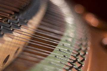 piano strings of the back of a piano