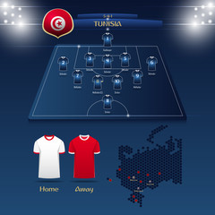 Team Tunisia soccer jersey or football kit with match formation tactic infographic. Football player position on football pitch and stadium map. Vector Illustration.