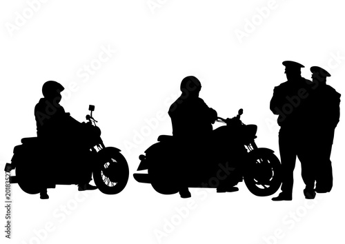 Wall mural Old retro bike and traffic police on white background