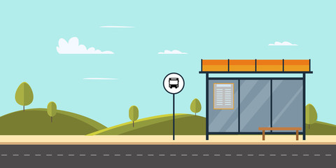 Bus stop on main street city.Public park with bench and bus stop with sky background.Vector illustration