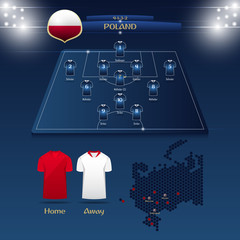 Team Poland soccer jersey or football kit with match formation tactic infographic. Football player position on football pitch and stadium map. Vector Illustration.