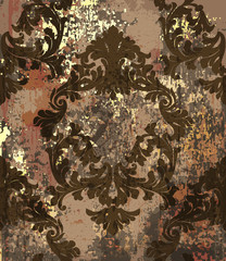 Baroque pattern background Vector. Ornamented texture luxury design. Vintage Royal textile decors