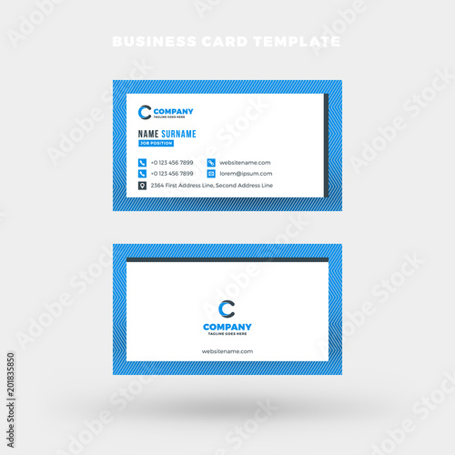 double sided horizontal business card template vector mockup illustration stationery design blue