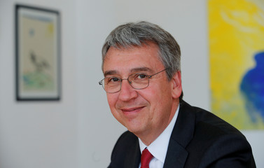 Andreas Mundt, president of Germany's Federal Cartel Office, is pictured during an interview with Reuters in Bonn