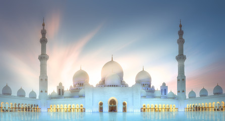 Sheikh Zayed Grand Mosque at sunset Abu-Dhabi, UAE