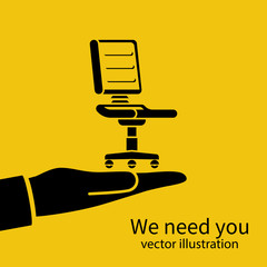 We need you. Vacant concept. Office empty chair hold in hand. Symbol of an recruiting to work. Hiring staff. Vector illustration flat design. Isolated on background. Career position.