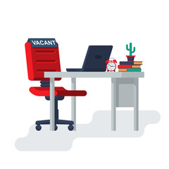 Vacant concept. Office empty chair with desktop laptop documents. Sign as symbol of an recruiting to work. Hiring staff. Vector illustration flat design. Isolated on background. Career position.