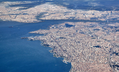 Istanbul, Aerial View: view of both European and Asian side as well as the Golden Horn, Bosporus straits and Sea of Marmara.