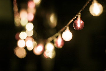 Chain Of Lights In Different Colous At A Little Party At Night
