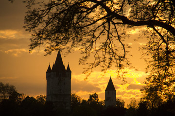 old medieval castle tower in haag with sunset and tree