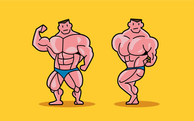 Two cartoon characters of bodybuilder posing show muscle