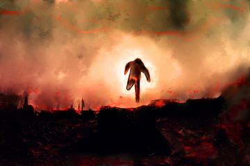 Fantasy image of man running on fire