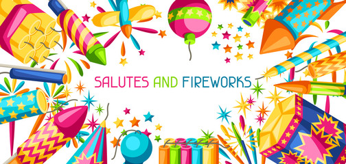 Banner with colorful fireworks. Different types of pyrotechnics, salutes and firecrackers