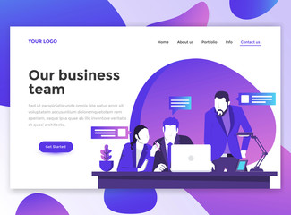 Flat Modern design of wesite template - Business team