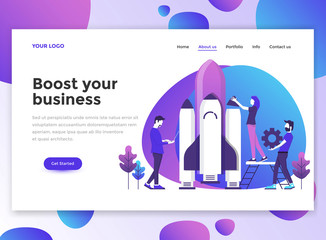Flat Modern design of wesite template - Business