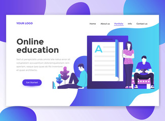 Flat Modern design of wesite template - Online Education