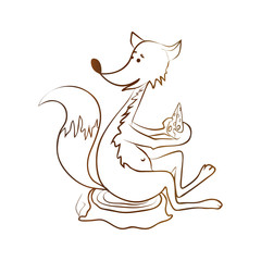 Fox, flat,  cheese, picture, stroke, stump, sketch for your design