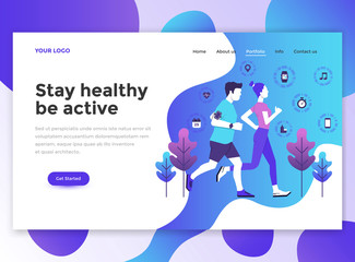 Flat Modern design of wesite template - Fitness