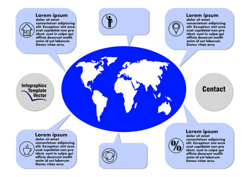 Dark blue infographic vector template with geography elements, world map, callouts, icons, copy space, white background