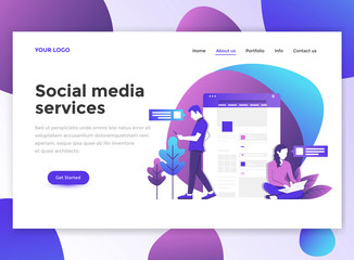 Flat Modern design of wesite template - Social Media Services