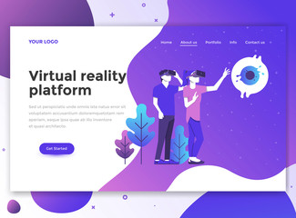 Flat Modern design of wesite template - Virtual reality platform