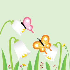 Cartoon cute colorful butterflies and white flowers in garden vector.