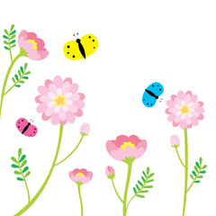 Cartoon cute little colorful butterflies and pink flowers on white background vector.