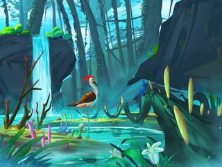 The Pheasant in the Waterfall Forest with Fantastic, Realistic and Futuristic Style. Video Game's Digital CG Artwork, Concept Illustration, Realistic Cartoon Style Scene Design