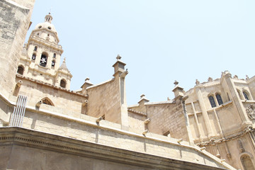 The tower of the cathedral santa maria of the spanish city of murcia with beige stone on a sunny day in summer in spain