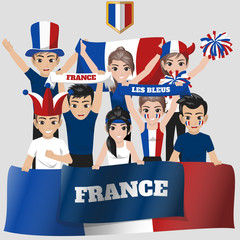 Set of Soccer / Football Supporter / Fans of France National Team