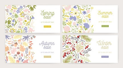 Collection of web banner templates with gorgeous blooming flowers, plants, leaves, berries and place for text on white background. Vector illustration for seasonal sale advertisement or promotion.