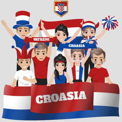 Set of Soccer / Football Supporter / Fans of Croasia National Team