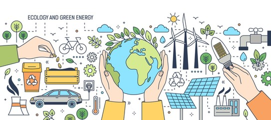 Banner with hands holding globe, light bulb and seeds surrounded by wind and solar power stations, electric car, green plants. Ecology, renewable energy, electricity generation. Vector illustration.