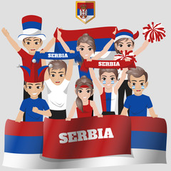 Set of Soccer / Football Supporter / Fans of Serbia National Team
