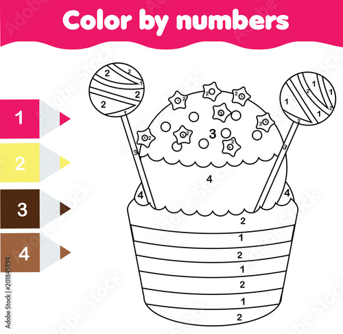 Children educational game. Coloring page with cupcake. Color by ...