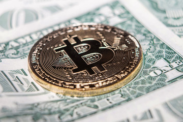 Coin bitcoin, coin ethereum, one dollar, Crypto currency close-up against dollar background. macro-shoot.