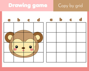 Grid copy worksheet. educational children game. Printable Kids activity sheet with monkey face. Copy the picture