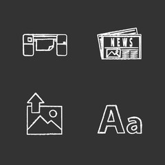 Printing chalk icons set