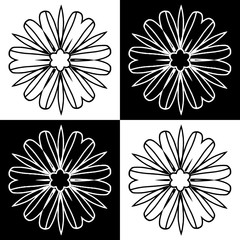 Decorative pattern with a flower in a black -white colors