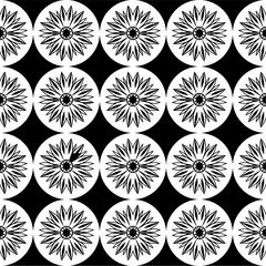 Seamless pattern with a flowers in a circles