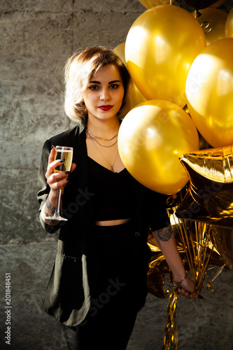 Happy Young Girl Standing With Her Birthday Balloons Smiling Shes Very Beautiful
